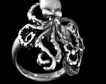 Sterling Silver OCTOPUS RING Sizes 5-12 Octopus Jewelry, Octopuses, kraken, womens rings, mens ring, free shipping in USA