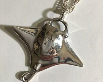 Large MANTA RAY PENDANT rays, nautical jewelry sting ray, ray jewely, free shipping