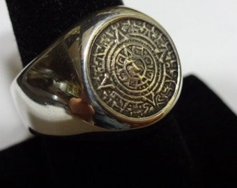 Sterling Silver AZTEC CALENDAR RING Sizes 8-11 Hand Made calendar ring, aztec ring, singnet ring
