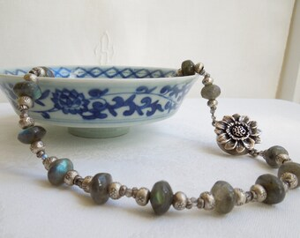 Labradorite Necklace- Hill Tribe Silver- Sunflower Clasp