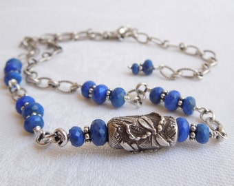 Lapis Lazuli Sterling Silver Dragonfly Necklace