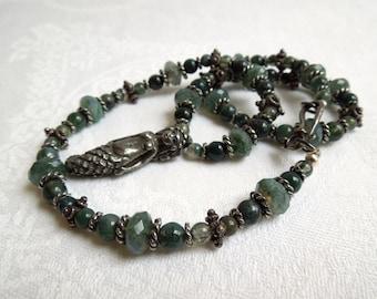 Little Mermaid Necklace: Moss Agate Gemstones Pewter Pendant