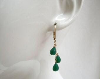Emerald Green Onyx Chandelier Earrings- 14K Gold Filled