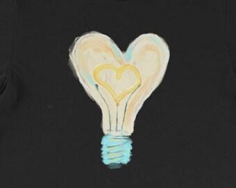 Love Light Shirt, Lightbulb of Love Shirt, Loving Light Shirt, Light Bulb Shirt, Heart Shaped Bulb Shirt, Light Hearted Shirt, Love Shirt, L