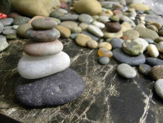 Natural beach stone stack 5 pretty pink purple white ocean