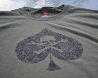 big and tall t-shirt Ace of Spades biker skull tee shirt tall shirts for men