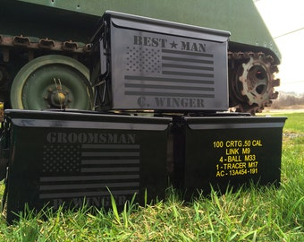 Ammo Box Personalize - SET OF 6 Ammo Boxes Can - Military Wedding - Groomsmen Gift - Custom Names - Dates -  Personalized Cans