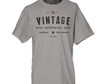 Custom Birthday Tshirt Personalized Vintage Old Geezer Club Shirt Funny Mens 40th 50th 60th Birthday Gift for husband father grandfather