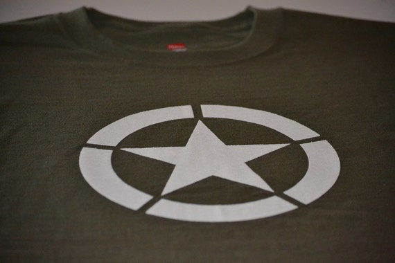 D-Day Military T-shirt Allied Star Olive Tee Shirt Drab WW2  514ea94e27f