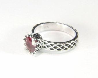 Ruby (7.5mm Natural Ruby), 7.5mm x 2.35 Carat, Handmade Sterling Silver Dress Ring