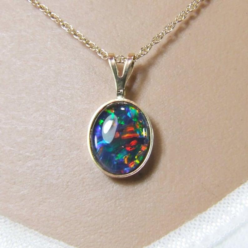 10mm x 8mm x 1.60 Carat Gold and Opal Pendant 14 Karat Solid Gold Opal Necklace Australian Harlequin /'Triplet/' Opal Oval Triplet