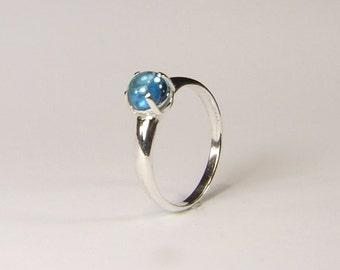 Marambaia 'Swiss Blue' Topaz, Genuine Topaz, 6mm x 1.10 Carat Cabochon Cut, Sterling Silver Ring