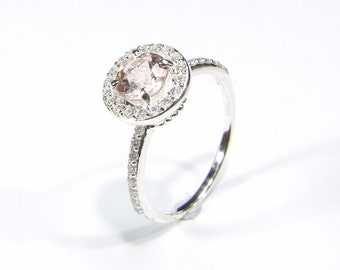 Emerald (Pink Emerald or 'Morganite'), 6.3mm x 1.10 Carats, Round Cut, Sterling Silver 'Halo' Style Ring
