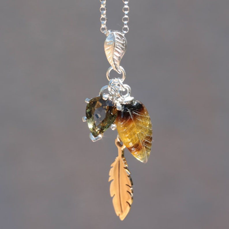 Sterling Silver Pendant Necklace w Adjustable Chain 10mm x 7mm x 1.05 Carat Honey Tourmaline Necklace Natural Tourmaline Pear Cut