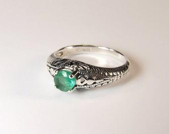 Emerald (5.0mm Transparent Genuine Emerald), 0.55 Carat, Round Cut, Sterling Silver Ring