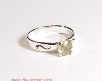Diaspore Ring (Genuine Turkish Diaspore), 6mm x 6mm x 1.10 Carat, Cushion Cut, Handmade OOAK Sterling Silver Ring