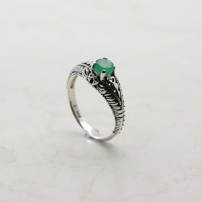 Round Cut 5mm x 0.50 Carat Art Deco Revival Style Sterling Silver Emerald Ring Emerald Ring Translucent Natural Colombian Emerald
