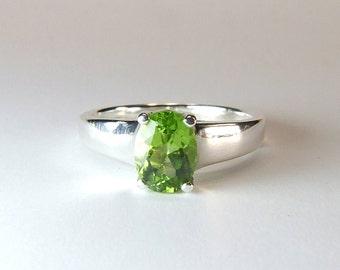 Peridot, 8mm x 6mm x 1.35 carats, Oval Cut, Sterling Silver Ring