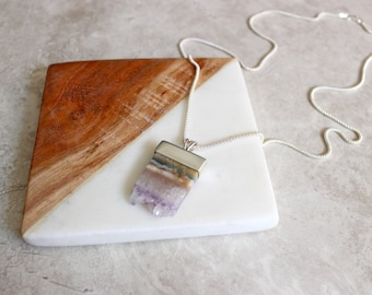 Amethyst Slice Necklace, Amethyst Druzy Necklace, Hand Fabricated Sterling Silver Necklace
