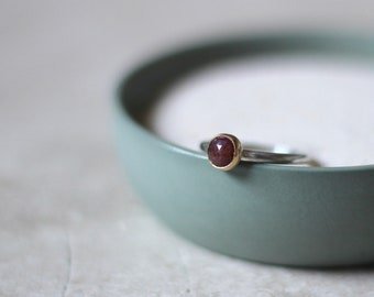 Petite Ruby Ring, 14kt Gold & Silver Ring