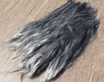 """Silver Gray Suri Alpaca Locks """"Cinder"""""""