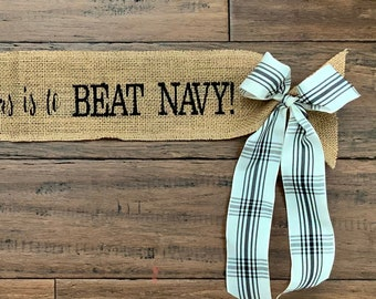 """Christmas Tree Wrap Ornament """" All I want for Christmas is to BEAT NAVY """" USMA West Point Army Football Black Knights Grosgrain Ribbon"""