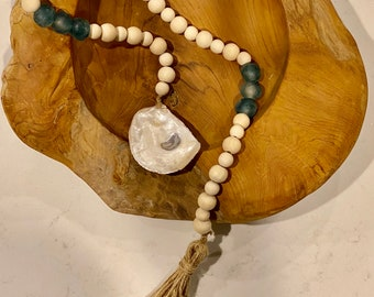 Coastal Farmhouse Decor Wood Bead Garland with painted OYSTER sea shell & recycled sea glass beads twine tassel seaglass blue green natural