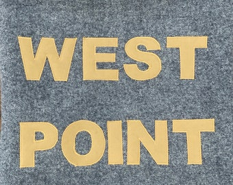 West Point USMA Cadet Grey WOOL Blanket PILLOW cover Go Army Beat Navy 18 - 20 inch square (made from a new cadet blanket)