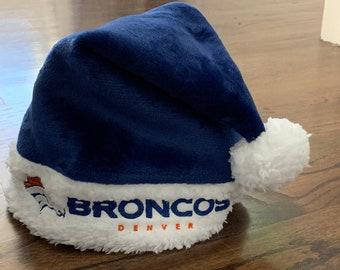 Denver Broncos SANTA Claus Hat - made from premium fleece & wool felt - Christmas Holiday Season - Blue Orange BRONCO Football Team Spirit