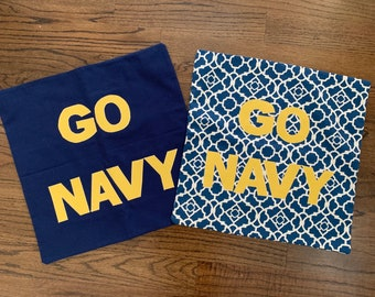 USNA Go Navy Beat Army Pillow Cover covers blue gold solid or print INDOOR use United States Naval Academy Midshipman Football Spirit