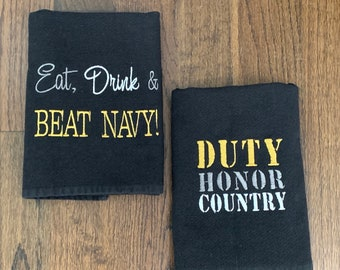 USMA West Point - Eat Drink & Beat Navy - Duty Honor Country - William Sonoma Kitchen Towel - set of 2 towels - Go Army - white