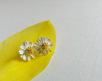 ab0f8cec232ede Daisy Stud Earrings. Tiny Sterling Silver Daisy Earrings. Simple Everyday.  Nature Inspired Earrings. Daisy Posts. Floral Earrings