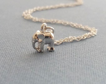 Silver Elephant Necklace. Sterling Silver Chain. Tiny Elephant Charm. Delicate Dainty Minimal. Good Luck Jewelry. Graduation Gift
