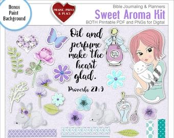 Sale! Sweet Aroma BOTH: Printable & Digital Bible Journal Kit. Print on Sticker Paper or Use Digitally Girl w Cat