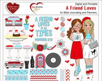 Sale! A Friend Loves Cute Girls BOTH: Printable & Digital Bible Journal Kit. Print on Sticker Paper or Use Digitally Retro Red Aqua