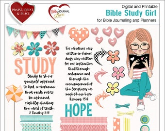 Bible Study Girl BOTH: Printable & Digital Bible Journal Kits. (Print PDF on Sticker or Copy Paper OR use in Photoshop Elements)