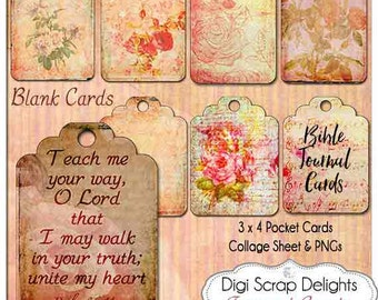 Printable Bible Journal Cards to Washi Tape into your Bible. PNG, and Editable PDF, Hybrid, Art Jounraling Tags, ID Cards