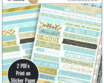 printable diy blue gold washi tape for bible journaling or planners print on sticker paper or copy paper and use stick glue