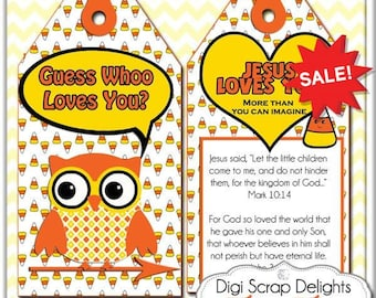 3 Sizes Printable Halloween Scripture Treat Tags. Candy Corn, Owls in Yellow, Orange, Black for Party Favors, Jesus Loves You