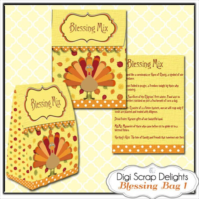 Thanksgiving Blessing Mix Printable Gift Bag Easy Topper