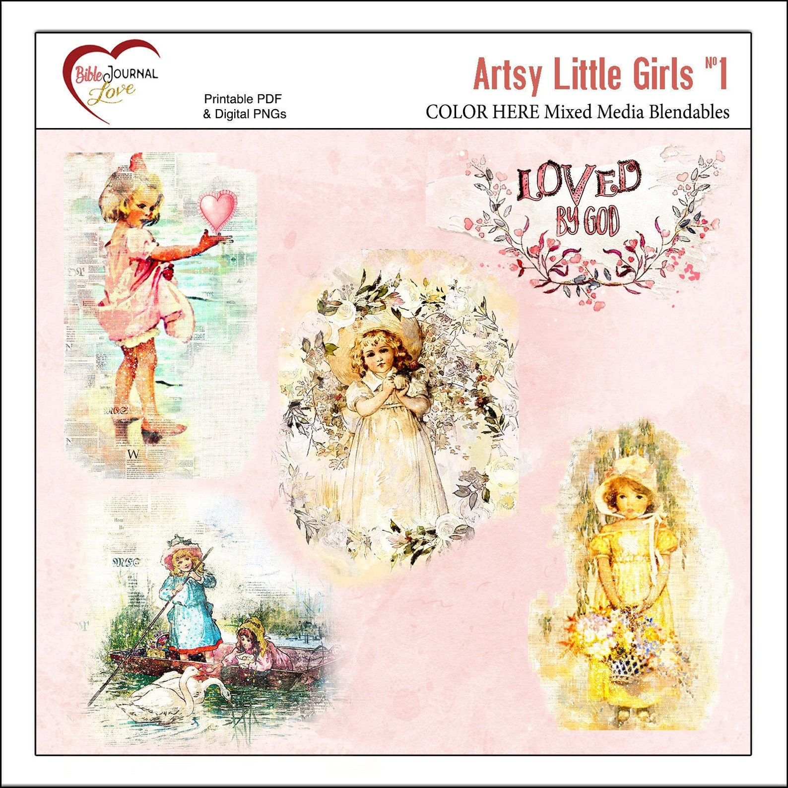 Artsy Little Girls Mixed Media Blandable Transfers