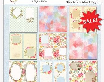 Junk Journal Travelers Notebook Backgrounds in Printable PDFs for Bible Journaling, Travelers Notebook