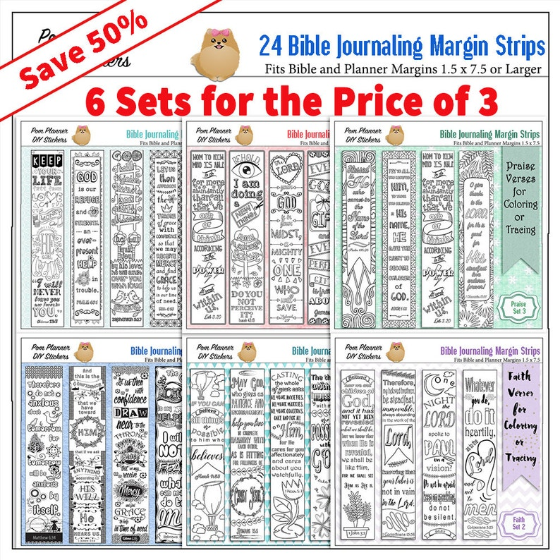 graphic about Printable Margins called Preserve 50%! Bible Journaling Margin Strips 24 Printable Coloring or Hint for Large Bible Margins or Planner Sticker or Bookmarks 6 Sets