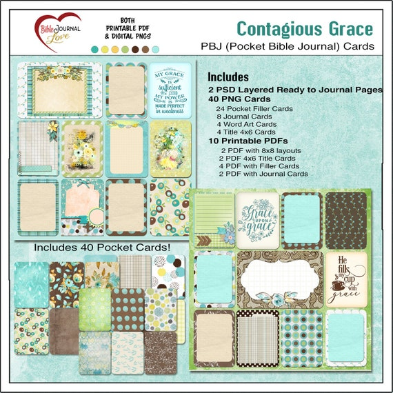 Grace Pocket Bible Journaling for Verse Mapping, 2 PSD for Photoshop  Elements , Printable PDF Project Life Scrapbook Journal Cards