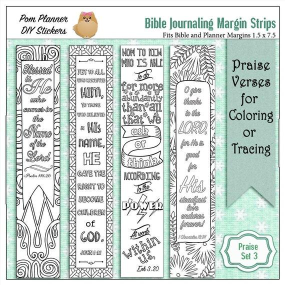 Printable Coloring Bible Journaling Margin Strips Faith Verses