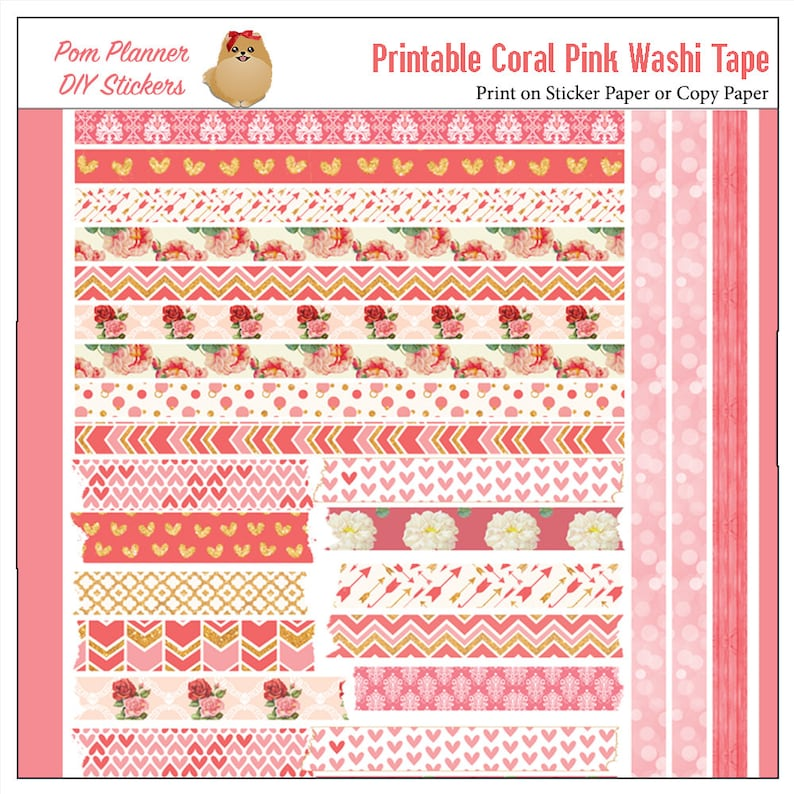 photo relating to Free Printable Washi Tape named Printable Washi Tape red coral roses PDF Bible Journaling or planners, Countless washi tape, print in excess of and above!