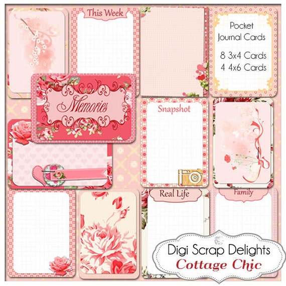 Cottage Chic Bible Journal Cards, Project Life Inspired 3x4 Printable PDF &  PNG, Digital Scrapbooking, Instant Download