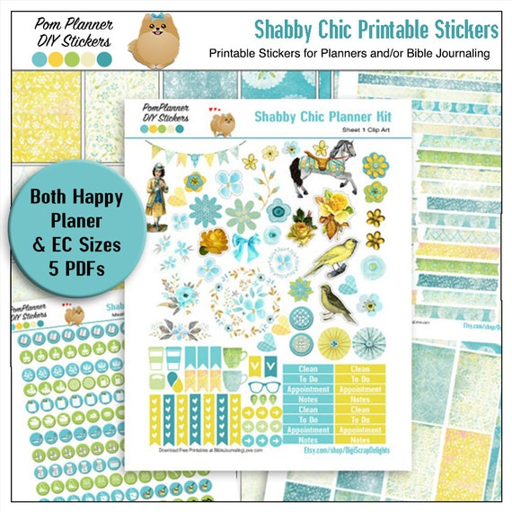 50% Off Planner Kit! Shabby Chic Printable Planner Stickers or Bible  Journaling 5 Pdf Clip Art, Washi, HP & EC Boxes, Icons