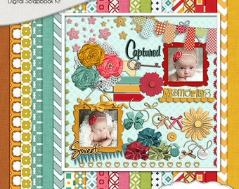 Sugar Pie Digital Scrapbook Kit w  Red, Teal, Green, Yellow Gold Instant Download. Banners Limited CU