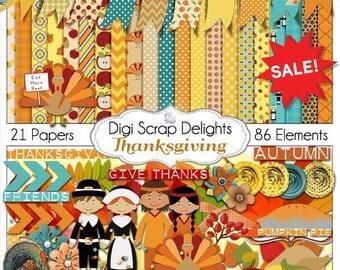 SAVE 60%! Thanksgiving Scrapbook Kit w Turkey, Pilgrim, Pumpkin, for Digital Scrapbooking, Fall Cards, Crafts, Orange, Yellow, Teal